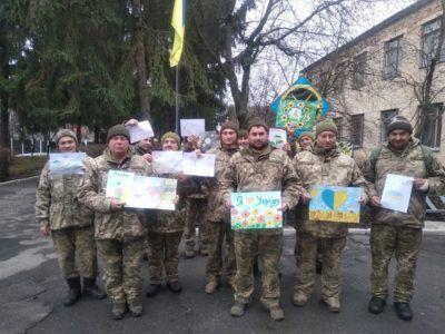 Школярі та волонтери Полтавщини привітали бійців ООС із новорічними святами