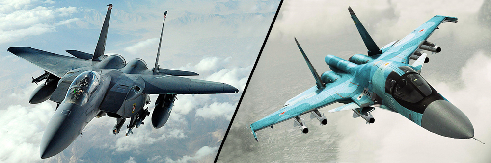 Американський хижак F-15E Strike Eagle проти Cу-34