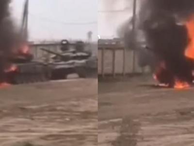 В Росії згорів танк Збройних сил РФ