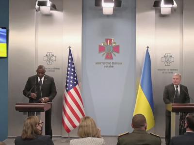 Брифінг Міністра оборони України Андрія Тарана та Міністра оборони США Ллойда Остіна